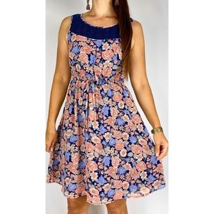 JEANSWEST Pink Blue Floral Print Sleeveless Fit & Flare Dress Size AU 12